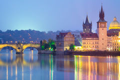 Famous Prague Landmarks at night, Europe Stock Image