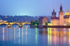 Famous Prague Landmarks at night, Europe Stock Images
