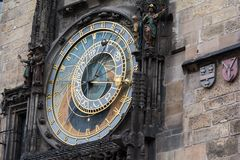 The Prague medieval astronomical clock. The famous Prague medieval astronomical clock. Side view Royalty Free Stock Photo