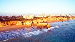 Famous Praia da Rocha in Portimao Portugal Stock Images