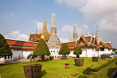 Famous Prangs in the Grand Palace in Bangkok in th Stock Photos