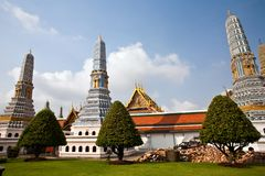 Famous Prangs in the Grand Palace in Bangkok in th Royalty Free Stock Photography