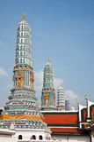 Famous Prangs in the Grand Palace in Bangkok Royalty Free Stock Photo