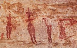 Rock paintings of Tassili N`Ajjer, Algeria. Famous prehistoric rock paintings of Tassili N`Ajjer, Algeria Stock Image