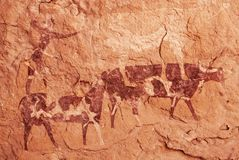 Rock paintings of Tassili N`Ajjer, Algeria. Famous prehistoric rock paintings of Tassili N`Ajjer, Algeria royalty free stock image