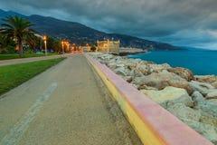 Famous promenade of Azur coast,Menton,France,Europe Stock Photo