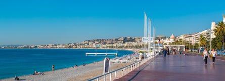 Famous Promenade des Anglais and Nice city coastline Royalty Free Stock Photos