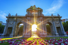 Famous Puerta de Alcala. At sunset, Madrid, Spain Royalty Free Stock Images