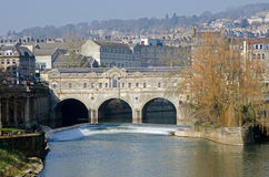 The Famous Pulteney Bridge on the River Avon in Ba Stock Image