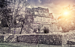 Famous pyramid ruin at Maya archaeological site Kabah of Chichen Itza in Yucatan, Mexico, Royalty Free Stock Image