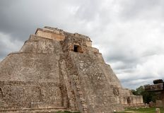 Famous Pyramid of Uxmal Maya ruins, Mexico. This round-cornered pyramid at Uxmal, Mexico, is the only one of its type in the Maya world stock photo