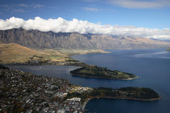 Famous Queenstown. View from the top: beautiful mountain and lake at Queenstown, New Zealand Stock Photos