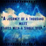 Famous quote about hope and motivation. A journey of a thousand miles starts with one step royalty free stock photo