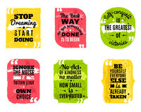 Famous quotes colored textured icons set Royalty Free Stock Photography