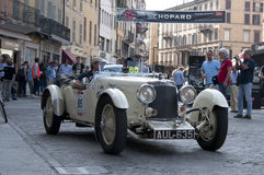 Famous race retro cars Mille Miglia stock photos