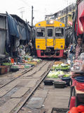 The famous railway markets at Maeklong, Thailand Stock Images