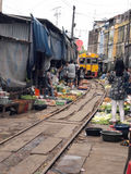 The famous railway markets at Maeklong, Thailand Royalty Free Stock Images