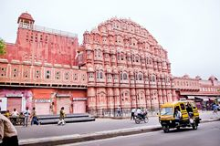 Famous Rajasthan landmark - Hawa Mahal palace, Palace of the Winds. The brisk movement b Stock Image