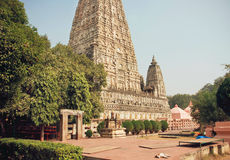 Famous 3rd century BC buddhist Mahabodhi Temple - Great Awakening - in Bodhgaya, India Royalty Free Stock Image
