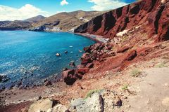 Famous Red Beach of the Aegean Sea on Santorini, Greece.  stock photography