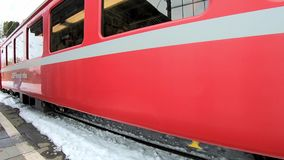 Red train of the Bernina stock video footage