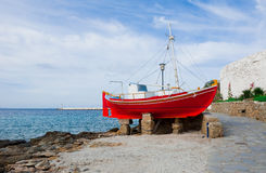 The famous red boat-restaurant on Mykonos Stock Images