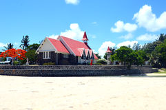 The Famous Red Church in Mauritius. This is the famous red church found in Mauritius. Many tourists who come to the island, go to visit this Red Roofted Church Royalty Free Stock Image