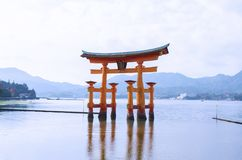 Famous red gate torii standing in the ocean on Miyajima Island, Stock Photos