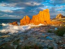Famous Red Rock in Arbatax, Sardinia Italy Stock Photography