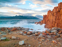 Famous Red Rock in Arbatax, Sardinia Italy. Red rocks and turquoise water of Arbatax, Sardinia, italy Stock Images