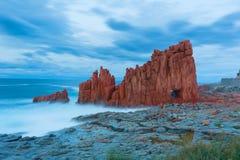 Famous Red Rock in Arbatax, Sardinia Italy. Red rocks and turquoise water of Arbatax, Sardinia, italy Stock Photos