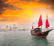 Famous Red Sails Ship crossing the strait from Hong Kong to Kowl Stock Images