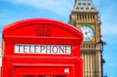 Famous red telephone booth in London Stock Images