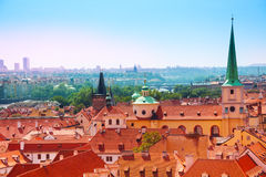 Famous red tile roofs in Prague, Czech Republic Stock Images