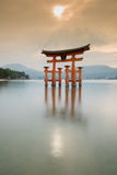 Famous red tori of Miyajima Stock Photography