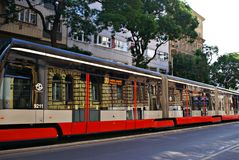 Famous red tram on the street. Stock Photo