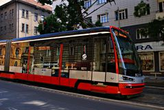 Famous red tram on the street. Stock Image