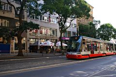 Famous red tram on the street. Stock Photos
