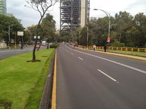 Reforma avenue empty in Mexico City. The famous Reforma Avenue completely empty of cars in Mexico City Royalty Free Stock Images