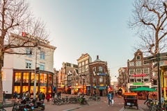The famous Rembrandt square during sunset in Amsterdam, The Neth Royalty Free Stock Photo