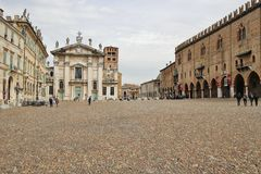 The famous Renaissance square Piazza Sordello in Mantua, Northern Italy. Mantua, Italy - April 10, 2018: The famous Renaissance square Piazza Sordello in Mantua Stock Photo