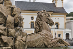 Famous Residenz Fountain in Salzburg, Austria. stock images