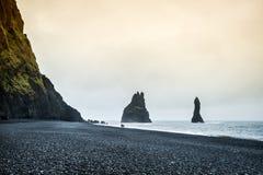 Famous Reynisdrangar rock formations at Reynisfjara Beach Royalty Free Stock Photos