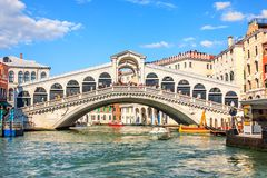 Famous Rialto bridge over the Grand Canal, Venice, Italy royalty free stock photography
