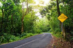 Famous Road to Hana fraught with narrow one-lane bridges, hairpin turns and incredible island views, curvy coastal road with views. Of cliffs, beaches Stock Photography