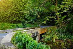 Famous Road to Hana fraught with narrow one-lane bridges, hairpin turns and incredible island views, curvy coastal road with views. Of cliffs, beaches Royalty Free Stock Photos