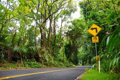 Famous Road to Hana fraught with narrow one-lane bridges, hairpin turns and incredible island views, curvy coastal road with views. Of cliffs, beaches Royalty Free Stock Photo