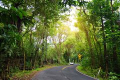Famous Road to Hana fraught with narrow one-lane bridges, hairpin turns and incredible island views, curvy coastal road with views. Of cliffs, beaches Stock Image