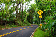 Famous Road to Hana fraught with narrow one-lane bridges, hairpin turns and incredible island views, Maui, Hawaii. Famous Road to Hana fraught with narrow one royalty free stock photos