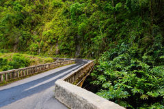 Famous Road to Hana fraught with narrow one-lane bridges, hairpin turns and incredible island views, Maui, Hawaii Stock Photography